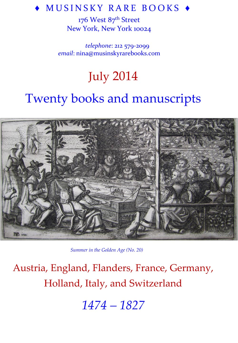 July 2014 - 20 books and manuscripts