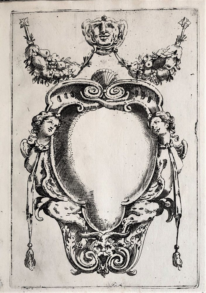 24 etched designs for cartouches and other ornaments. Etched text on first plate: All' Ill.mo Sig.r Fran.co Bandini. Humilissimo servitore Giovan Batista Paganelli DD. Agost.o Mitelli In Ventor [sic]. Agostino MITELLI.