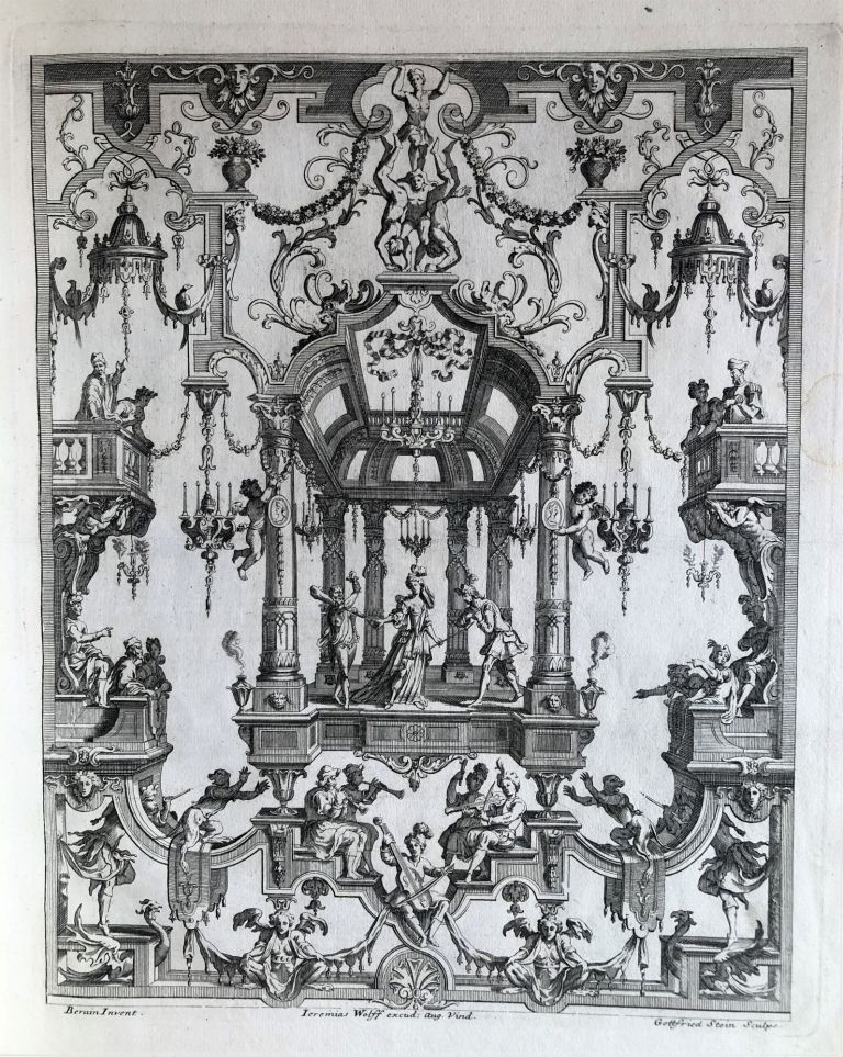 Collected volume of ornament prints. Jean I BERAIN, artist, Jeremias WOLFF, publisher.