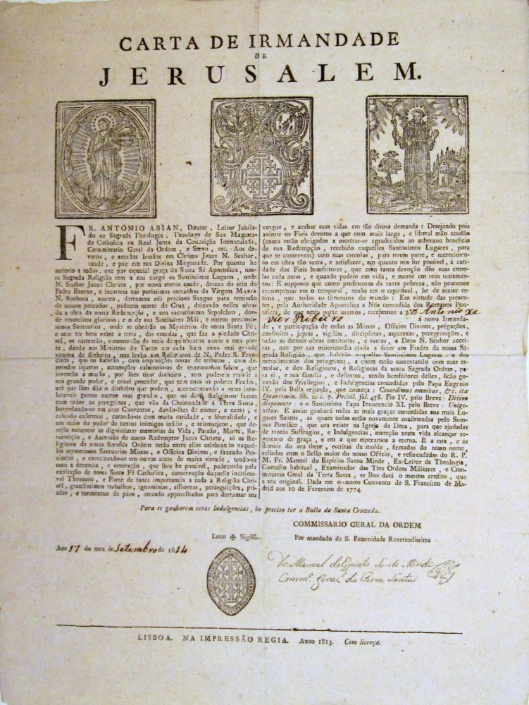 Carta de Irmandade de Jerusalem. CONFRATERNITY of JERUSALEM.