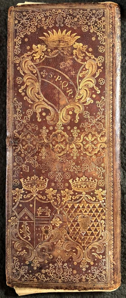 Gold-tooled morocco portfolio with papal arms. PORTFOLIO.