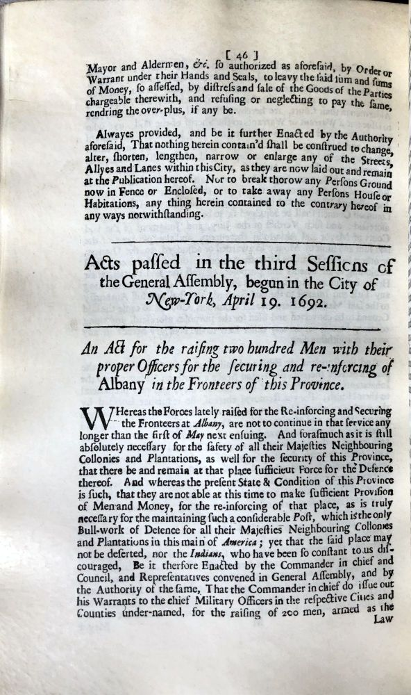 Facsimile of the Laws and Acts of the General Assembly for their Majesties Province of New York. At New York printed and sold by William Bradford, printer to their Majesties King William & Queen Mary, 1694. Edited and annotated by Robert Ludlow Fowler. Theodor Low DE VINNE, printer.