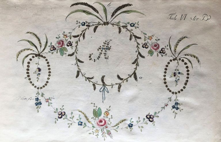 Suite of etched floral embroidery designs, in two states, colored and uncolored. Johann Friedrich NETTO.
