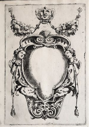 24 etched designs for cartouches and other ornaments. Etched text on first plate: All' Ill.mo...