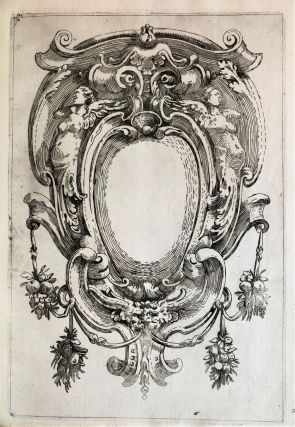 24 etched designs for cartouches and other ornaments. Etched text on first plate: All' Ill.mo Sig.r Fran.co Bandini. Humilissimo servitore Giovan Batista Paganelli DD. Agost.o Mitelli In Ventor [sic].