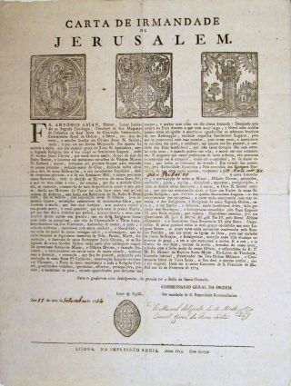 Carta de Irmandade de Jerusalem. CONFRATERNITY of JERUSALEM