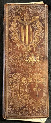 Gold-tooled morocco portfolio with papal arms.