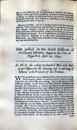 Facsimile of the Laws and Acts of the General Assembly for their Majesties Province of New York. At New York printed and sold by William Bradford, printer to their Majesties King William & Queen Mary, 1694. Edited and annotated by Robert Ludlow Fowler.