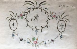 Suite of etched floral embroidery designs, in two states, colored and uncolored. Johann Friedrich...