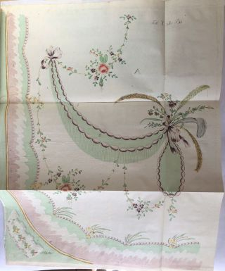 Suite of etched floral embroidery designs, in two states, colored and uncolored.