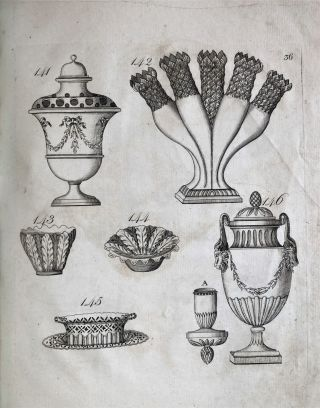 Designs of Sundry Articles of Queen's or Cream-colour'd Earthen-Ware, manufactured by Hartley, Greens, and Co. at Leeds Pottery: with a great variety of other articles. The same enamel'd, Printed or Ornamented with Gold to any Pattern; also with Coats of Arms, Cyphers, Landscapes, &c. &c. / Abrisse von verschiedenen Artickeln vom Koniginnen oder gleben Stein-Gute... / Desseins de divers articles de Poteries de la Reine en Couleur de Creme ...